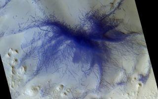 Space Orbiter Spots 'Hairy Blue Spider' on Mars