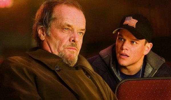 The Departed Jack Nicholson Matt Damon conspiring in a movie theater
