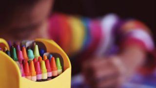 Crayon and kid