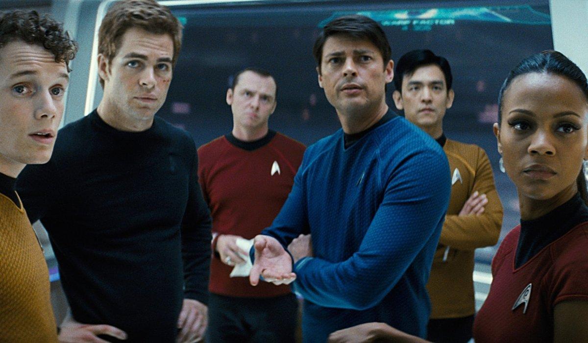 Star Trek the Enterprise crew lined up on deck