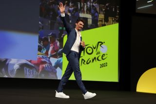 Julian Alaphilippe at the route presentation in Paris for the 2022 Tour de France