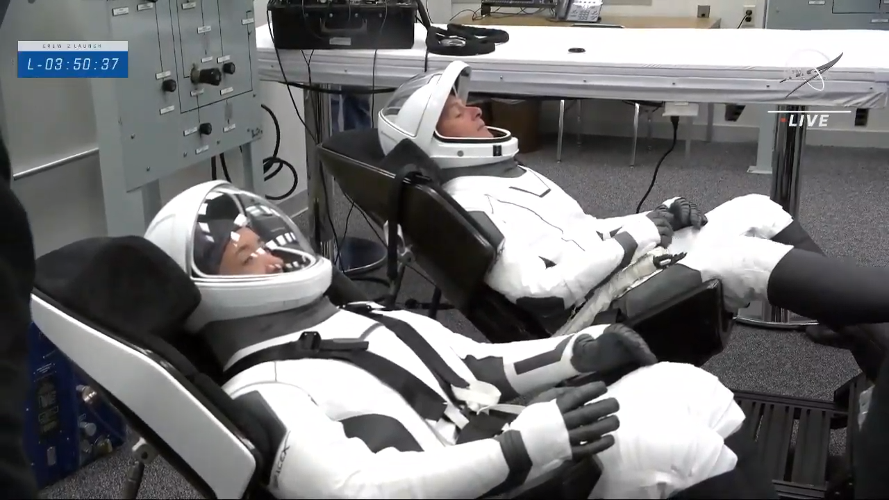 The SpaceX Crew-2 astronauts suit up inside the Neil Armstrong Operations and Checkout Building at NASA's Kennedy Space Center in Florida, on April 23, 2021.
