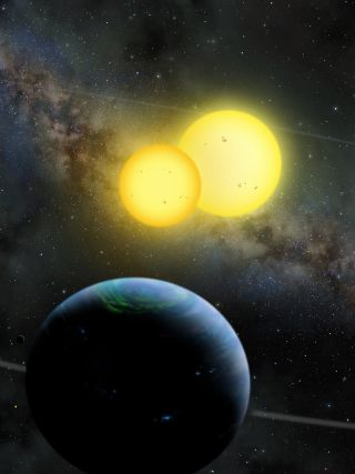 An artist's illustration of Kepler-35 b, a Saturn-size planet around a pair of sun-size stars, as envisioned by artist Lynette Cook.