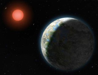 This artist's conception shows the inner four planets of the Gliese 581 system and their host star, a red dwarf only 20 light-years from Earth.