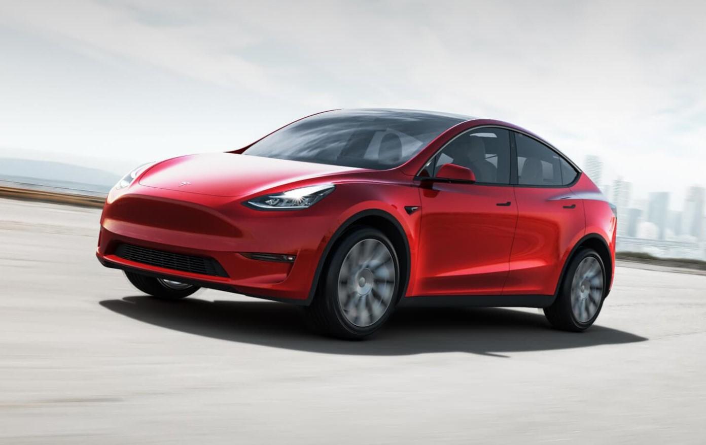 Tesla model y render on the road