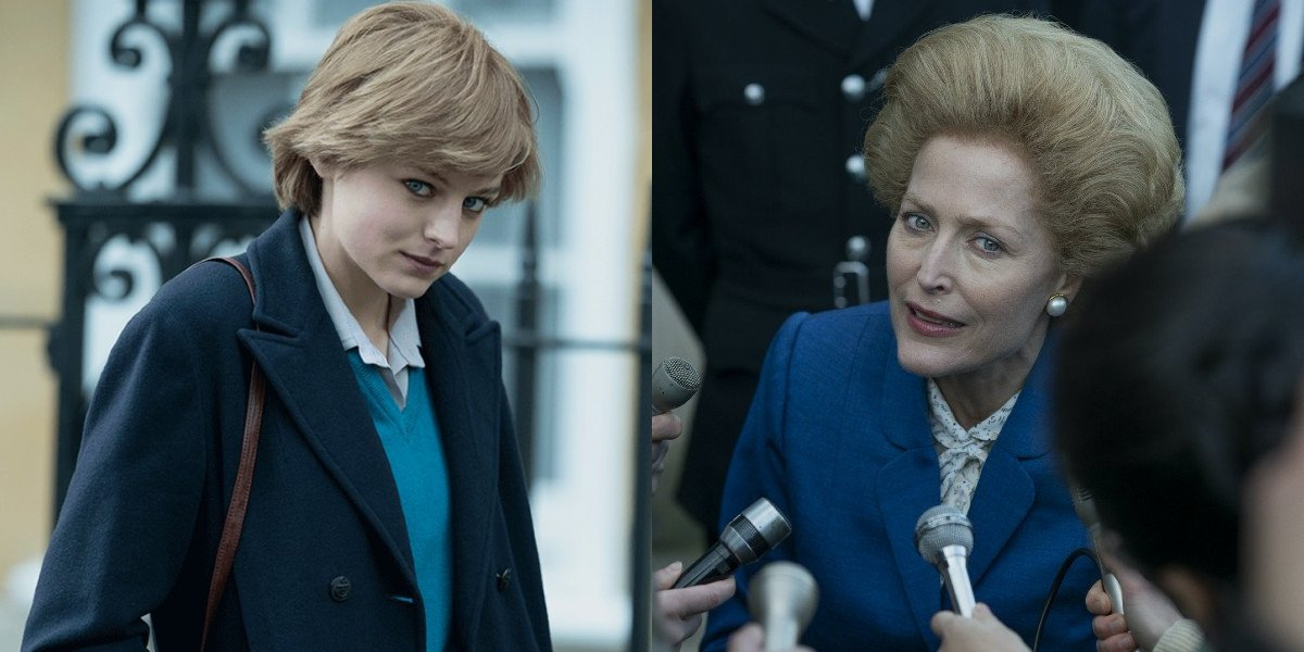 Emma Corrin and Gillian Anderson in The Crown