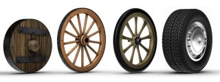 Wheels were invented circa 3,500 B.C., and rapidly spread across the Eastern Hemisphere.
