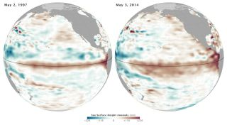 The 10-day average sea-surface height centered on May 2, 1997 (left), and May 3, 2014.