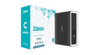 A Zotac Zbox mini PC and its box