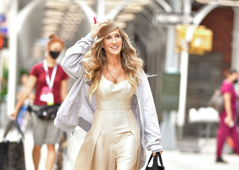 """Sarah Jessica Parker seen on the set of Sex and the City reboot """"And Just Like That..."""" in NoHo on July 14, 2021 in New York City"""