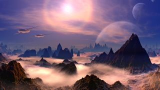 Alien spaceships above rocky planet.