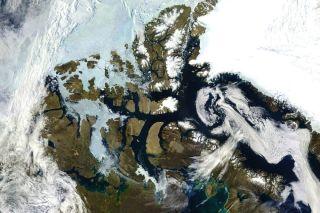 MODIS satellite true color image of the Canadian Arctic Archipelago.