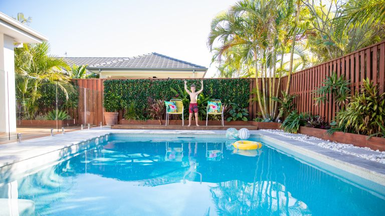 pool fence ideas: backyard pool with glass and wooden fences