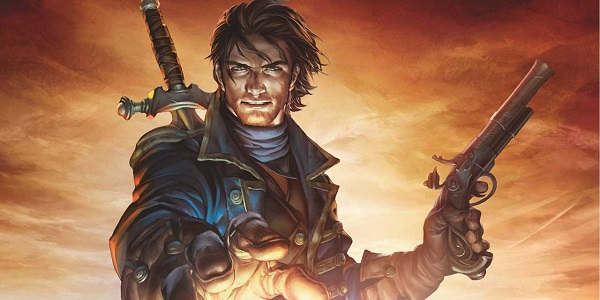 A character from Fable, looking all heroic.