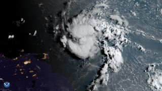 Tropical storm Dorian as seen on the morning of Aug. 26 overlaid on nightlights from several islands including Barbados and St. Lucia. Tropical storm Dorian turned into a hurricane on the afternoon of Aug. 28 near St. Thomas in the U.S. Virgin Islands.