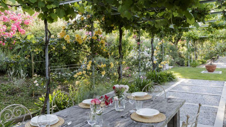 Open concept-garden broken up by an outdoor dining space