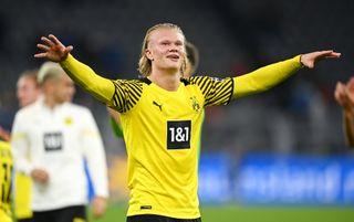 Borussia Dortmund striker Erling Haaland celebrates