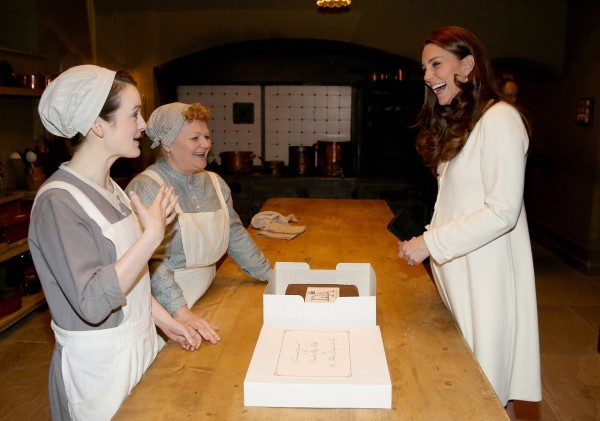 Sophie McShera and Lesley Nicol gave the Duchess a tour of the Downton kitchen (Chris Jackson/PA)