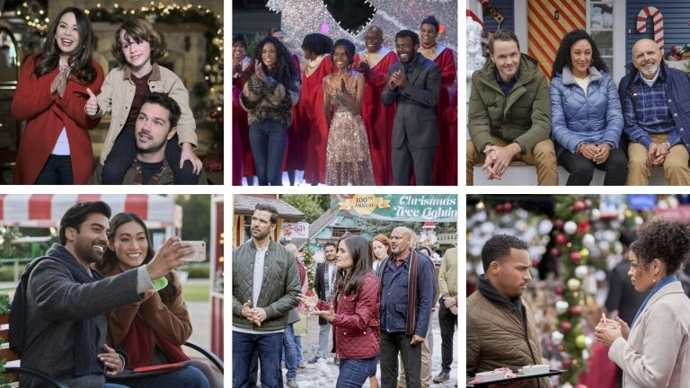 Hallmark's Christmas movie schedule collage of upcoming releases