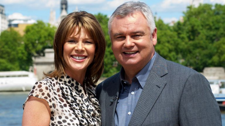 Ruth Langsford and Eamonn Holmes pose for pictures on the south bank on July 21, 2010 in London, England