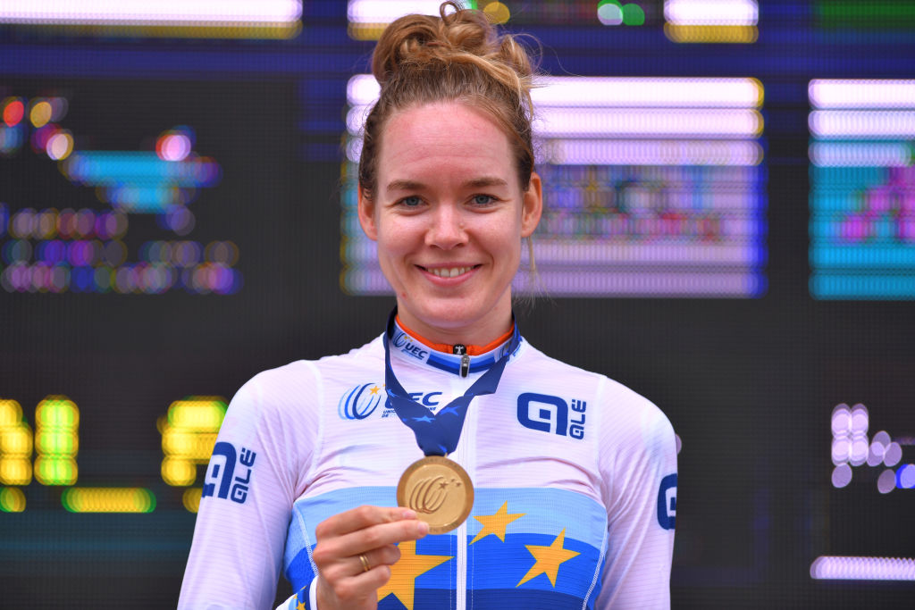 PLOUAY FRANCE AUGUST 24 Podium Anna Van Der Breggen of Netherlands Gold Medal European Champion Jersey Celebration during the 26th UEC Road European Championships 2020 Womens Elite Individual Time Trial a 256km race from Plouay to Plouay ITT UECcycling EuroRoad20 on August 24 2020 in Plouay France Photo by Luc ClaessenGetty Images
