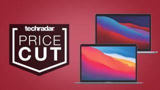 Apple MacBook Air and Apple MacBook Pro on red background