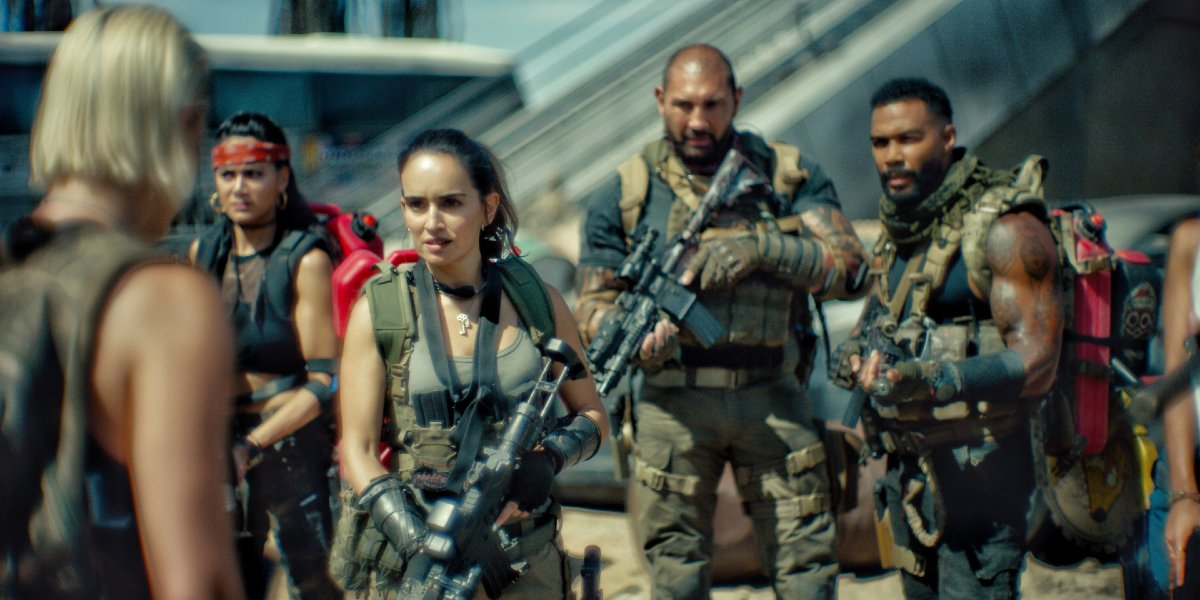 Dave Bautista and his squad mates armed for battle in Army of the Dead.