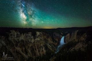 Milky Way Over Yellowstone Lower Falls by Evans