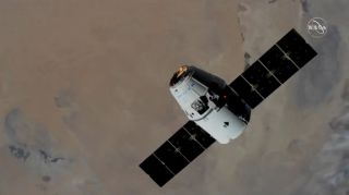 A SpaceX Dragon cargo ship carrying over 5,700 lbs. (2,585 kilograms) of science gear and NASA supplies arrives at the International Space Station on Dec. 8, 2019 during the CRS-19 cargo mission. Another Dragon will launch on the CRS-20 mission on March 6, 2020.