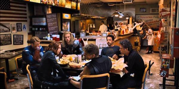 The Avengers eating shwarma