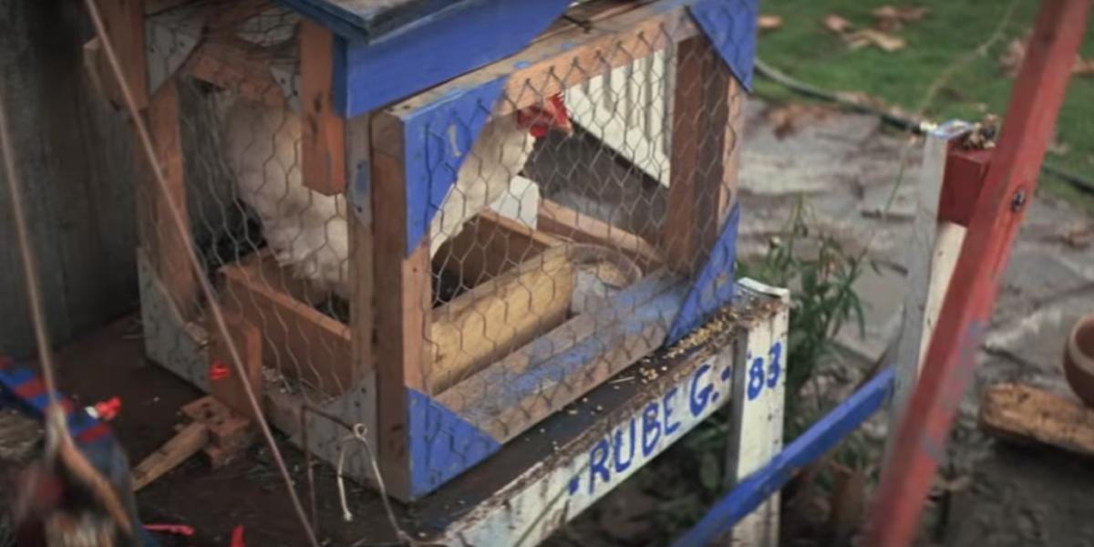 The chicken from the Goonies' Rube Goldberg machine