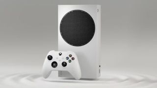 Xbox Series S standing up with Xbox Series S controller