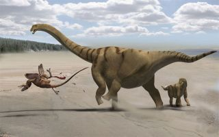 a Brontomerus dinosaur protects her baby from a predator in this dinosaur illustration