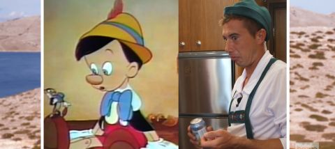 """While preparing for the charter's improvised """"Oktoberfest"""" celebration, producers rightfully pointed out how David uncannily resembles Pinocchio while in costume."""