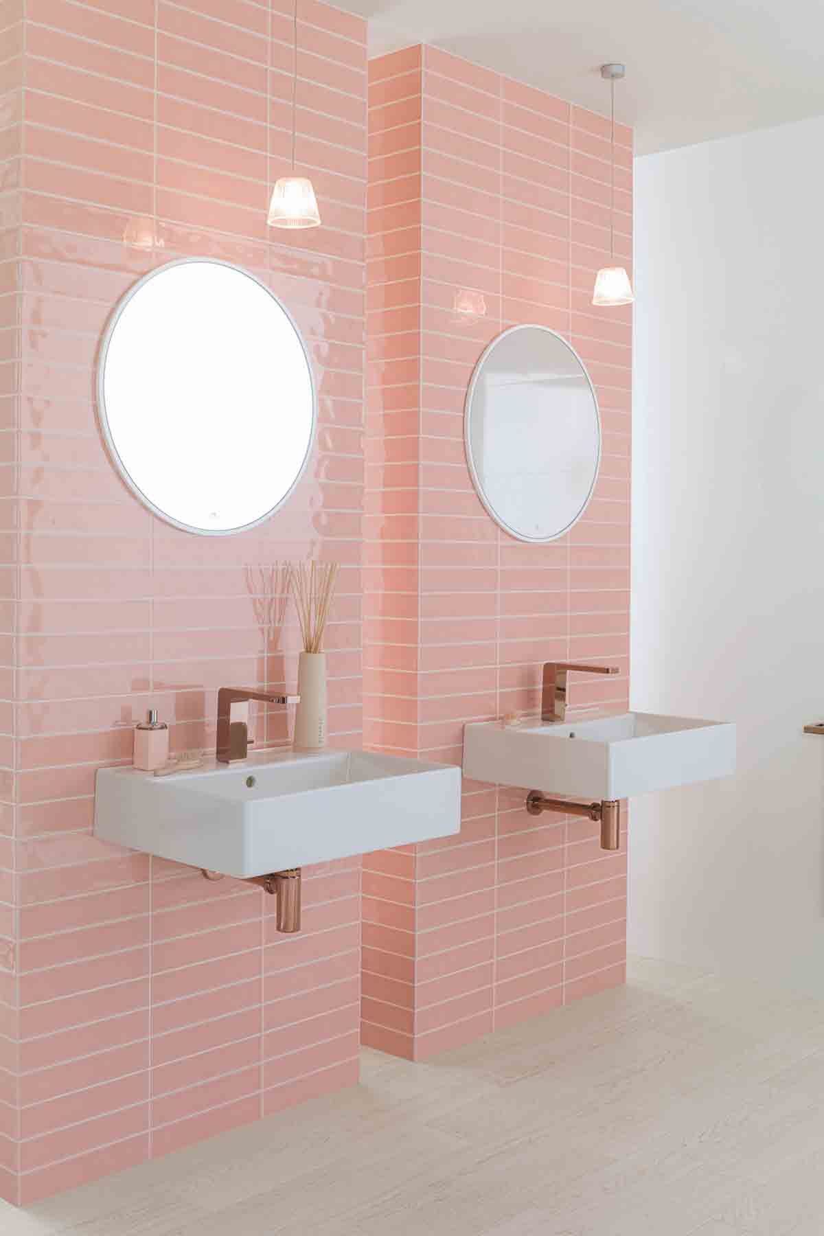 Malaga Rose Wall Tiles 41sq M Porcelanosa Jam Basins 333 Each Lounge Copper Taps 803 And Urban Bottle Traps 209