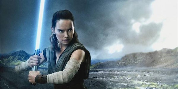 Rey in a promo image of The Last Jedi