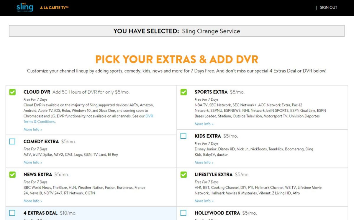 sling tv 4 extras deal