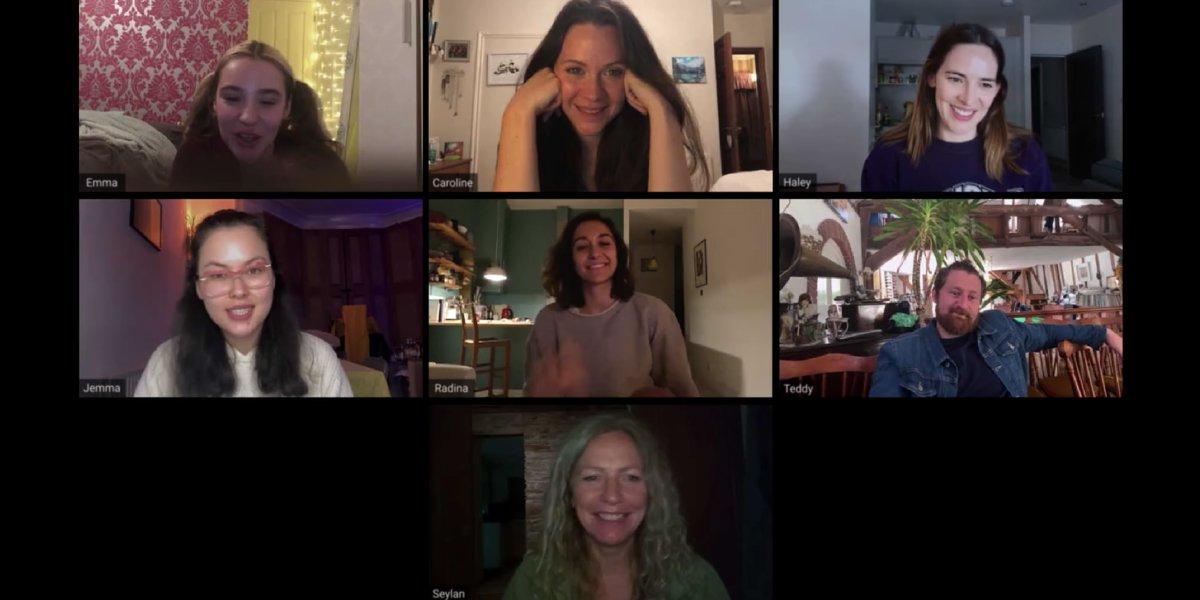 Emma Louise Webb, Caroline Ward, Haley Bishop, Jemma Moore, Radina Drandova, Edward Linard, and Seylan Baxter in Host
