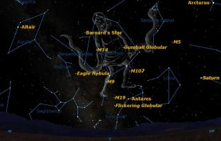 Ophiuchus Sky Map Summer 2013