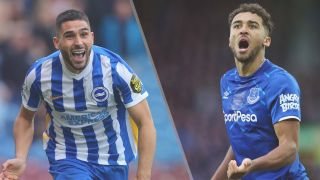 Brighton & Hove Albion vs Everton live stream — Neal Maupay of Brighton & Hove Albion and Dominic Calvert-Lewin of Everton