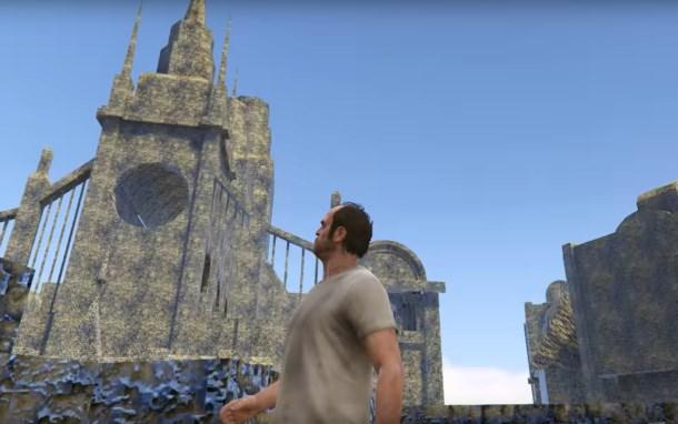 Watch Trevor from GTA5 run around in a Bloodborne prototype map