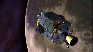 LADEE Readies for Orbital Maneuvering Thruster Burn Artist's Concept