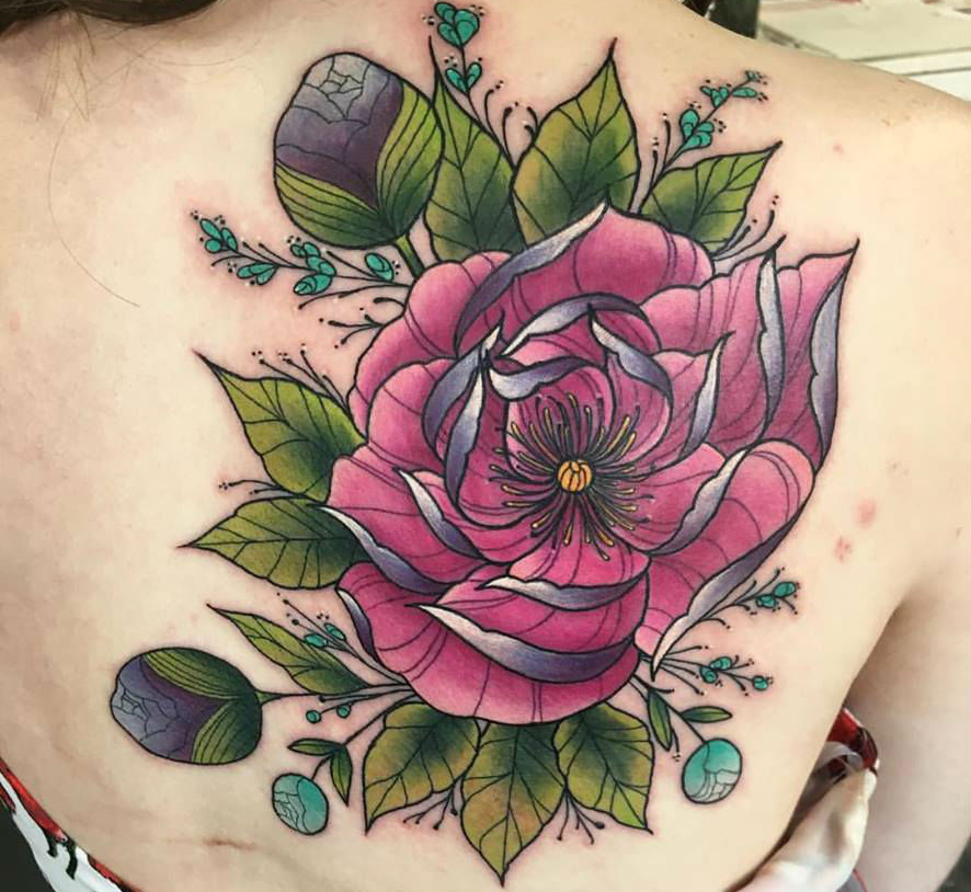 pink rose tattoo design