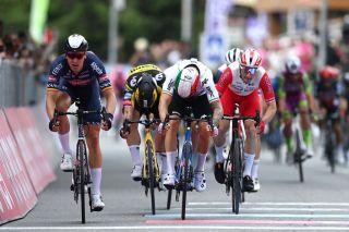 Elia Viviani (Cofidis - R) powers to third on stage 2 of the 2021 Giro d'Italia
