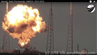 This screen grab from a video by USLaunchReport.com shows the explosion of a SpaceX Falcon 9 rocket on Sept. 1, 2016.