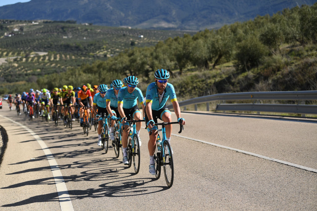 BEDA SPAIN FEBRUARY 21 Dmitry Gruzdev of Kazakhstan and Astana Pro Team Hugo Houle of Canada and Astana Pro Team Nikita Stalnov of Kazakhstan and Astana Pro Team during the 66th Vuelta a Andaluca Ruta del Sol 2020 Stage 3 a 1769km stage from Jan to beda 727m VCANDALUCIA UCIProSeries on February 21 2020 in beda Spain Photo by David RamosGetty Images