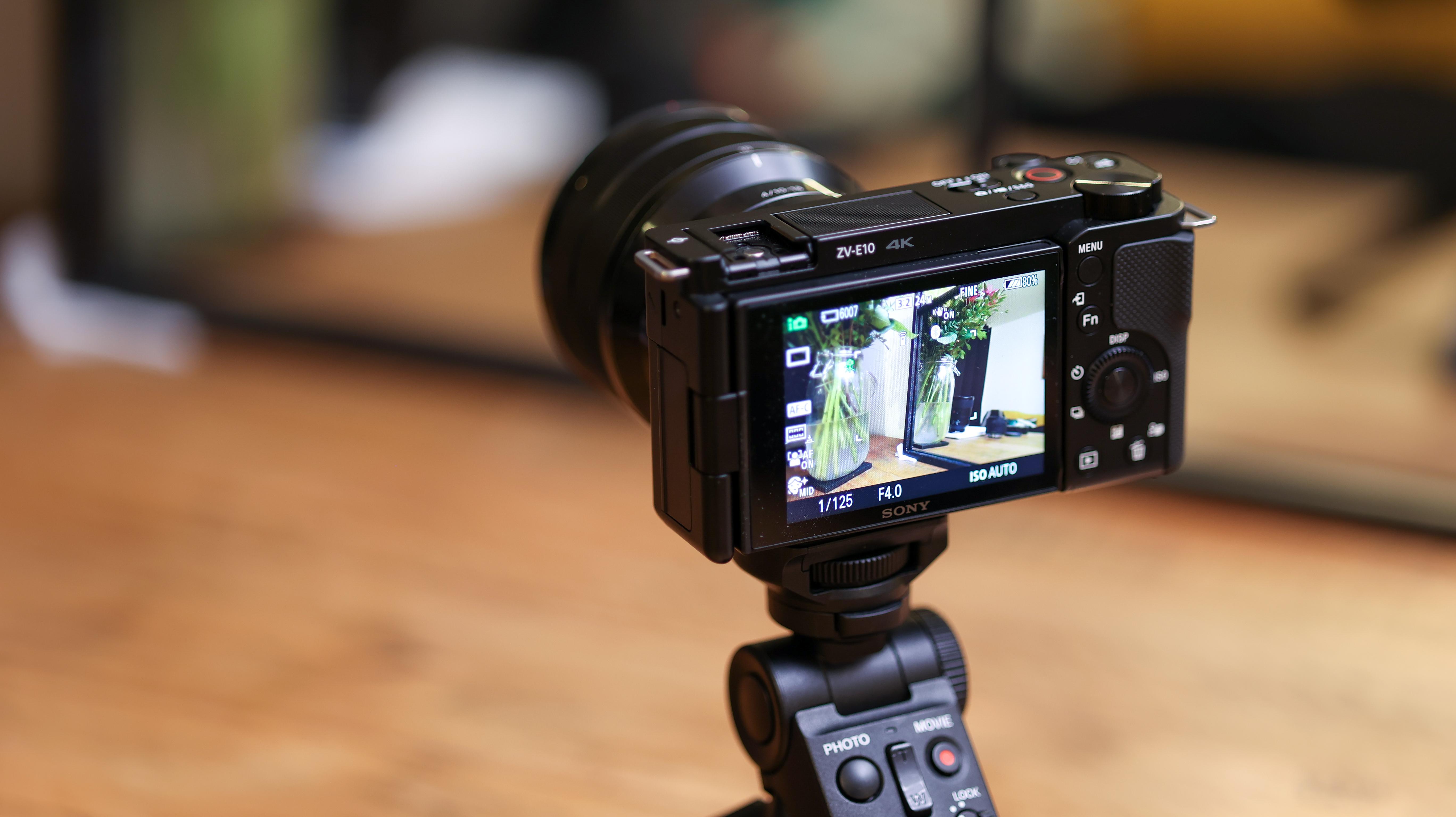 The rear screen of the Sony ZV-E10 as it films a scene