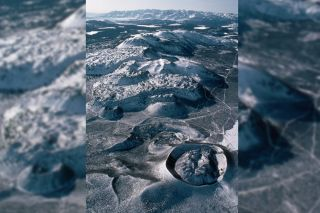 An aerial view of Long Valley Caldera, on the eastern slopes of the Sierra Mountains, in California.