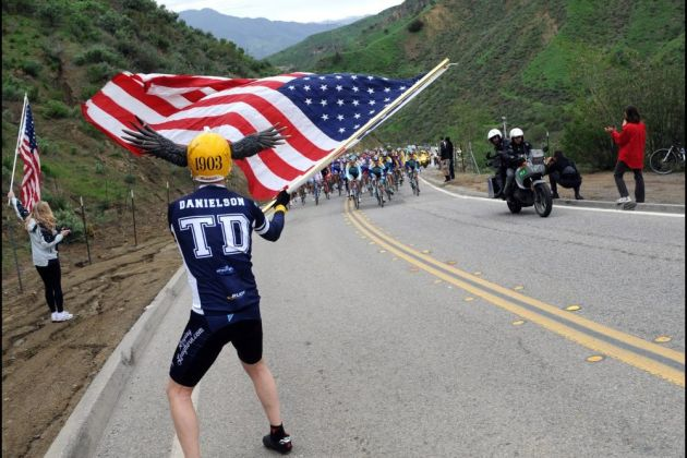 An American fan on stage five of the Tour of California