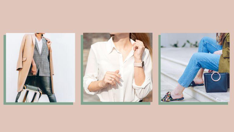 three lifestyle images of w&h's wardrobe essentials picks on a beige background
